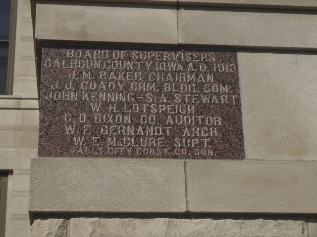 Cornerstone of the Calhoun County Courthouse