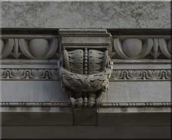 Stone carving decorating exterior of courthouse