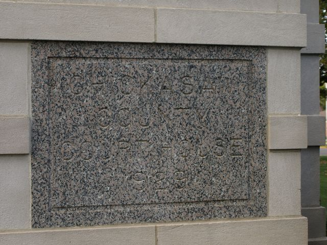 "Cornerstone ""Chickasaw County Court House 1929"" carved in granite"