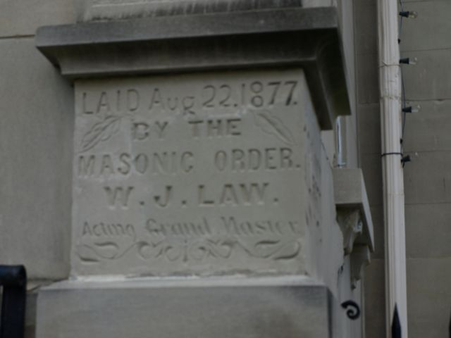 Cornerstone: Laid Aug 22, 1877 by the Masonic order W J Law, Acting Grand Master