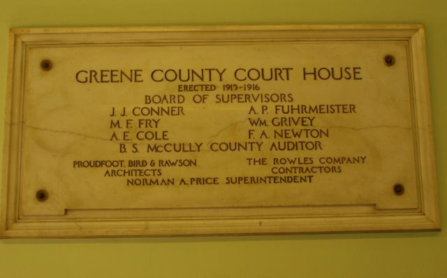 Dedication plaque with board of supervisors, architects and contractors. Dated 1915-16