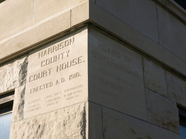 Cornerstone: Harrison County Court House, erected A.D. 1910