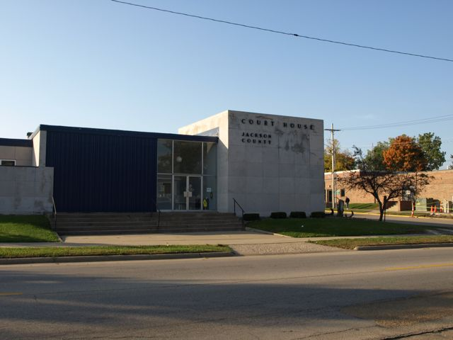 A view of the north side of the building toward the west. The main entrance is in the center of the photo
