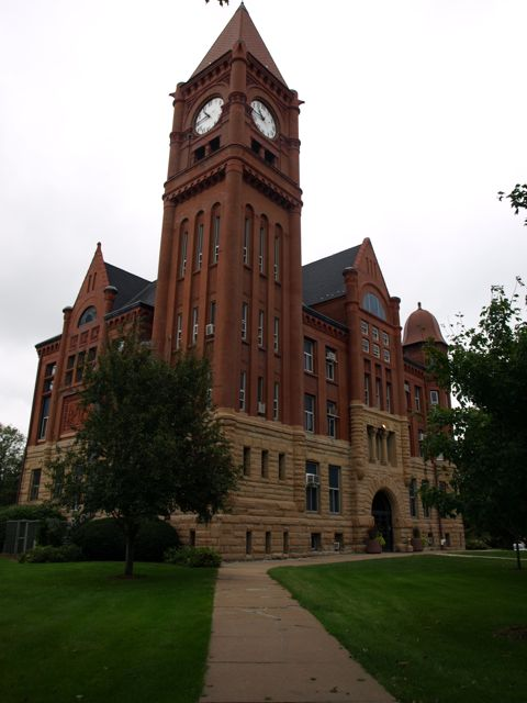 Southwest corner of courthouse, includes clocktower