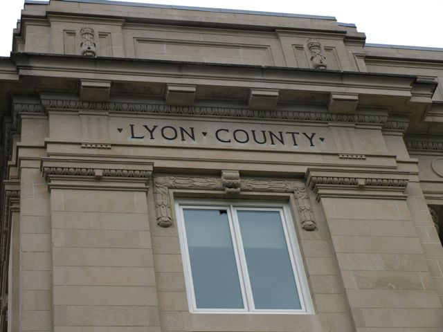 "Inscription ""Lyon County"" on facade"