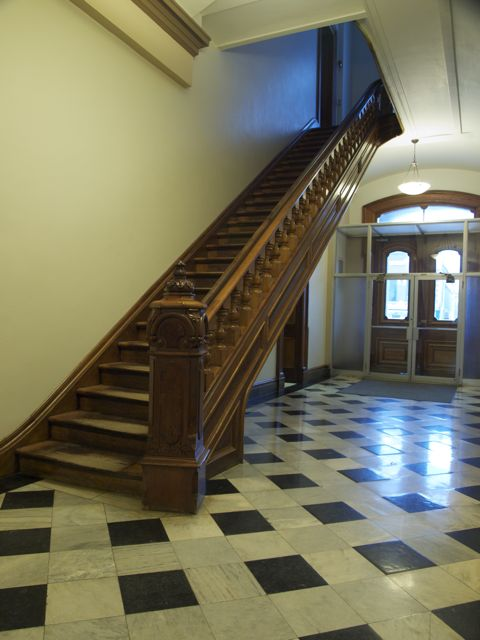 The staircase is carved from local timbers. The railing and stair tread are all wood.