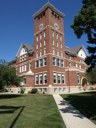view of the southwest corner of the courthouse, includes clock tower
